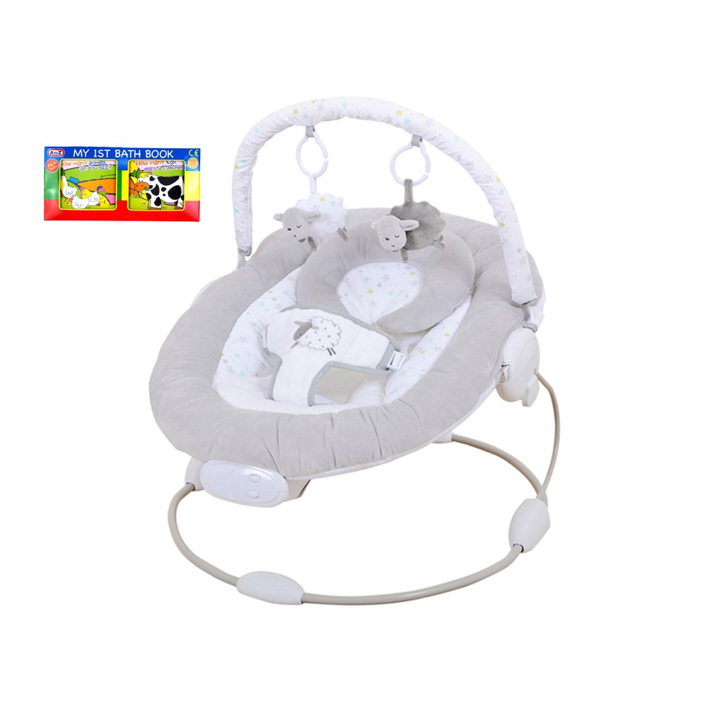 1,2,3 Counting Sheep Musical Vibrating Bouncer Chair & A-Z 1st Book Bundle - Suitable From Birth Eastcoast
