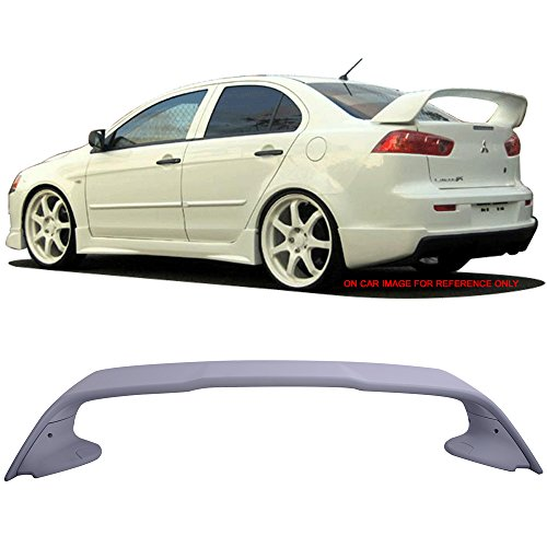 Trunk Spoiler Fits 2008-2017 Mitsubishi Lancer and 2008-2015 Evolution Evox Evo10 | EVO Style Unpainted ABS Car Exterior Trunk Spoiler Rear Wing Tail Roof Top Lid by IKON MOTORSPORTS | 2009 (Unpainted Spoiler Wing)