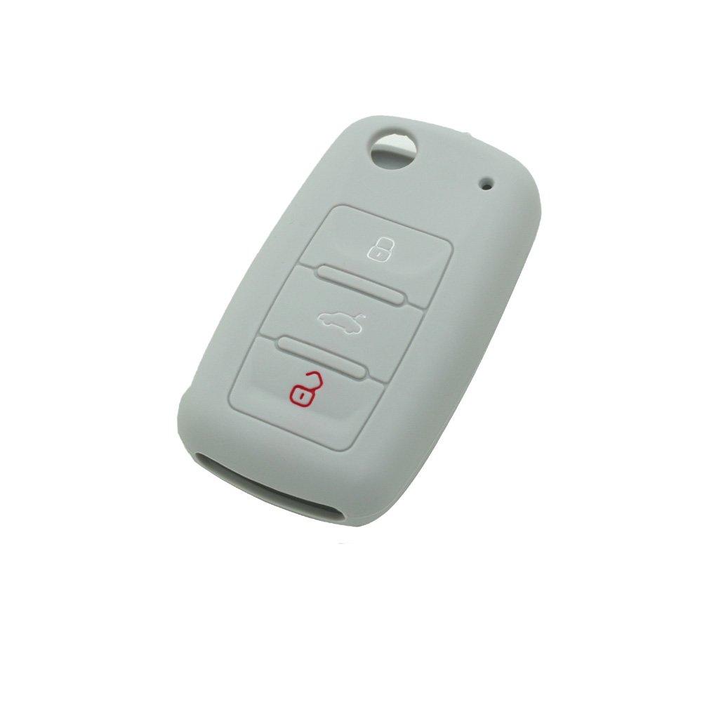 SEGADEN Silicone Cover Protector Case Skin Jacket fit for VOLKSWAGEN SEAT SKODA 3 Button Flip Remote Key Fob CV9800 White