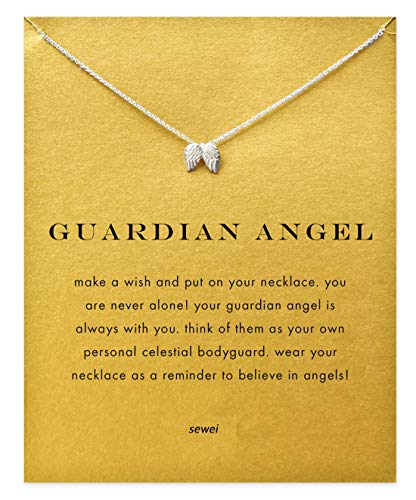 SEWEI Angel Wing Necklace with Message Card Wish Card Nurse Gift Necklace (Silver-Plated Angel Wing)