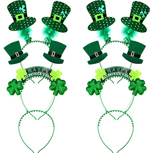 Patricks Day Green Headbands Shamrock Head Boppers Hair Accessories for Party Costume Supplies Jovitec 6 Pieces St 5 Designs