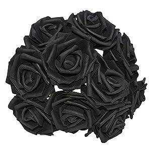 YONGSNOW 30Pcs/lot 8cm PE Foam Rose Artificial Flower Bouquets for Wedding Party Decoration (Black) 36