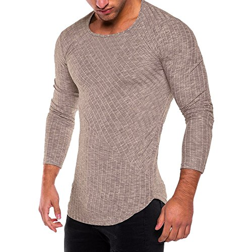 HGWXX7 Men's Fashion Solid O Neck Long Sleeve