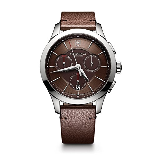 Victorinox Leather Wrist Watch - Victorinox Men's 'Alliance' Swiss Quartz Stainless Steel and Leather Casual Watch, Color:Brown (Model: 241749)