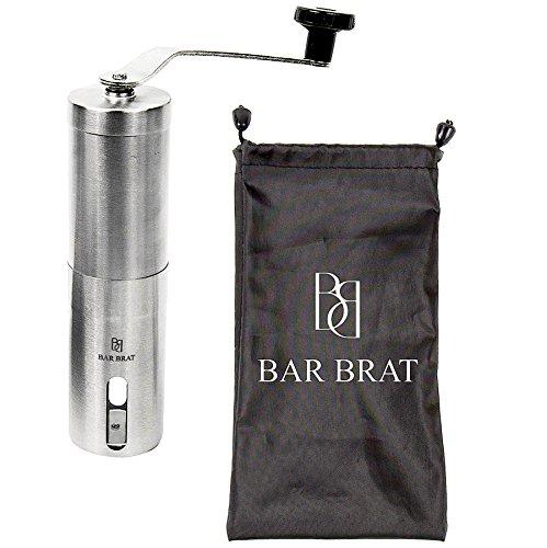 Premium Hand Manual Coffee Grinder Maker + Coffee Scoop by Bar Brat / Bonus Travel Bag, Coffee ...