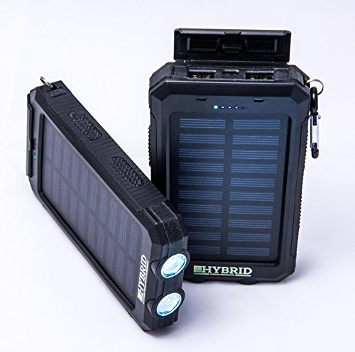 Solar Charger Hybrid Power Products 8,000mAh Portable Lightweight Durable Solar Power Bank Waterproof Shockproof Dustproof Includes Dual USB Charger Compass Flashlight by Hybrid Power Products