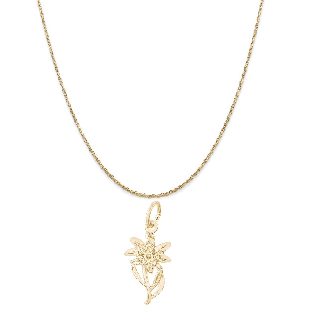 Rembrandt Charms 14K Yellow Gold Edelweiss Charm on a 14K Yellow Gold Rope Chain Necklace, 18''