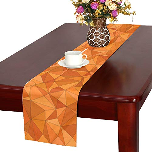 Jnseff Triangle Abstract Color Mosaic Tile Table Runner, Kitchen Dining Table Runner 16 X 72 Inch For Dinner Parties, Events, Decor