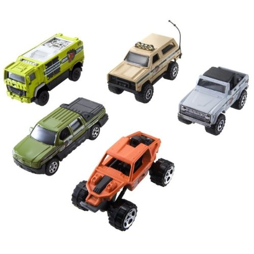 2007-matchbox-croc-zoo-vehicles-5-pack-mbx-metal-1-n9639-chevy-avalanche-off-road-rider-1972-ford-br