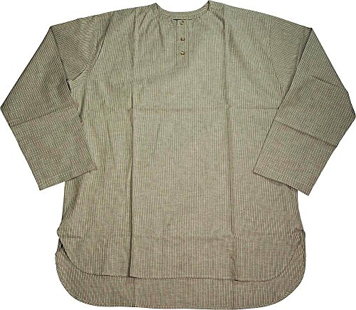 Varsity - Mens Long Sleeve Striped Broadcloth Night Shirt Top, Khaki 39278-Small