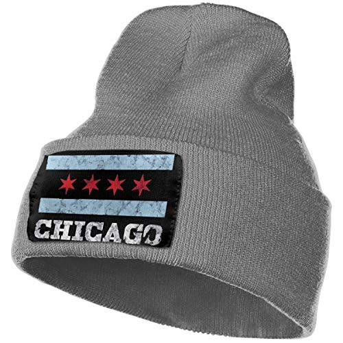 WHOO93@Y Mens Womens 100% Acrylic Knit Hat Cap, Chicago Flag Cute Ski Cap Deep -