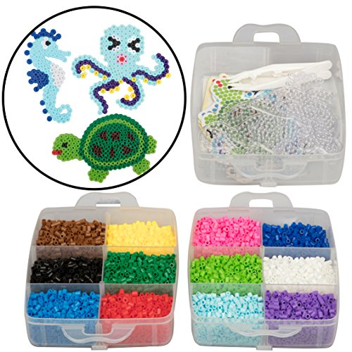 - 8,000pc Fuse Bead Super Kit w/Sea Animal Pegboards and Templates - 12 Colors, 6 Peg Boards, Tweezers, Ironing Paper, Case - Works with Perler Beads