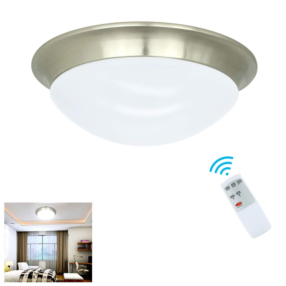 W-LITE 24W Dimmable LED Disk Light, Flush Mount Ceiling Light Fixture, Remote Control Surface Mounted Downlight, Brightness Adjustable Round Ceiling Lighting for Bedroom Kitchen Bathroom 11inch