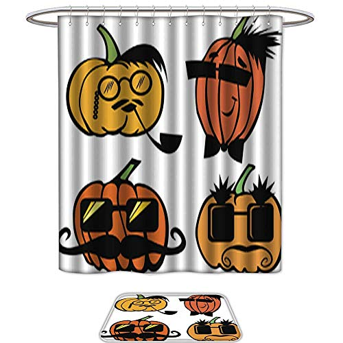 - UHOO Bathroom Sets Non SlipMale Pumpkins Set in Sunglasses and with Mustaches. Bath Mats ic,Shower Curtain,12pcs Metal Hook