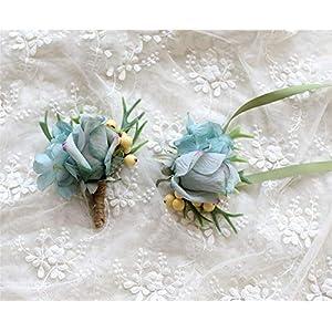 MOJUN Corsage Flower Artificial Silk Flower Boutonniere and Corsage Rose Hydrangea Wedding Flowers 31