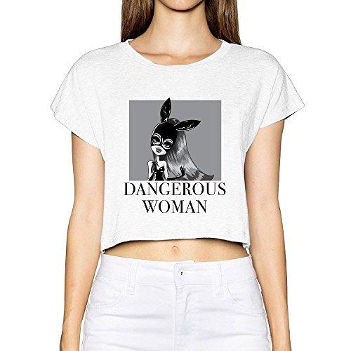 Custom Woman Ariana Singer Grande Cute Cartoon Poster Cotton Crop Top Size L White