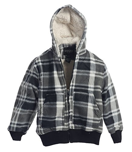 Gioberti Boys Checkered Flannel Hoodie Jacket with Sherpa Lining, Gray, Size 6