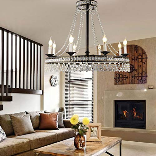 FriendShip Shop Chandelier- Retro Loft Crystal Chandelier Pendant Light, Rustic in Antique Iron, Industrial Light for Restaurant,Bar,Coffee Room,Black (Color : 8-Heads)