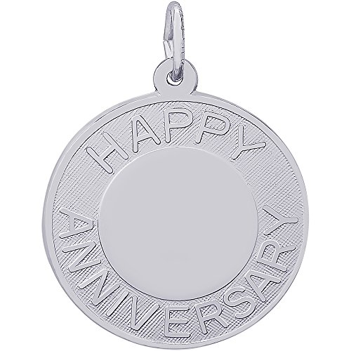 Happy Anniversary Disc Charm (Rembrandt Charms Sterling Silver Happy Anniversary Disc Charm (22 x 22 mm))