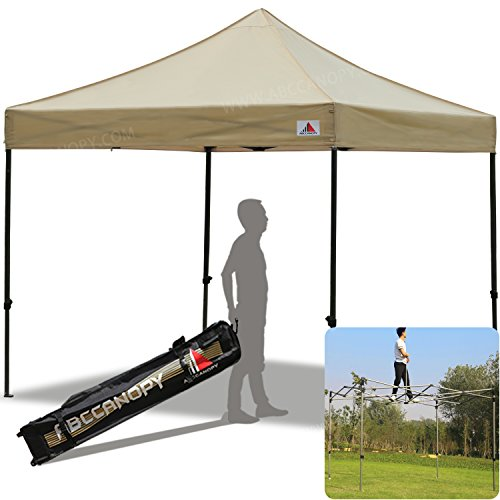 Commercial High Peak Canopy (ABCCANOPY Kingkong-series 10 X 10-feet Commercial Instant Canopy Kit Ez Pop up canopy ,Bonus Carrying Bag (30+ Colors) (beige-1))