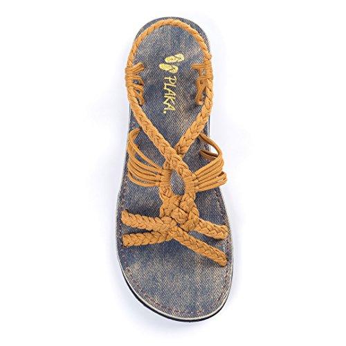 Plaka Flat Summer Sandals for Women Sand Yellow Size 6 Peacock ()