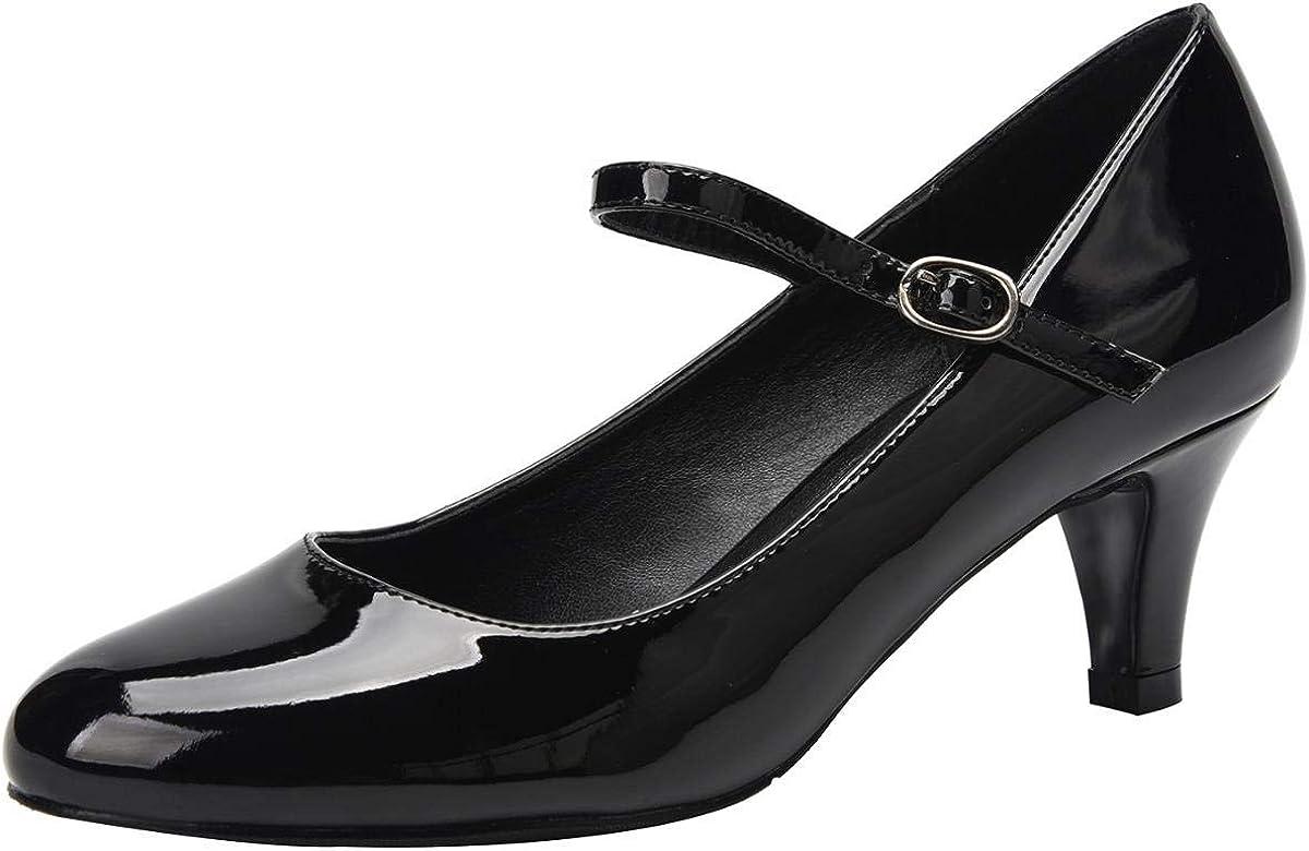 ed87722575 Amazon.com   Jiu du Women's Pumps Closed Round Toe Ankle Strap ...