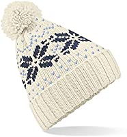 Beechfield Unisex Fair Isle Snowstar Winter Beanie Hat (Off White / French Navy / Sky Blue)