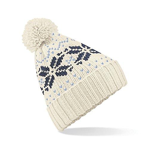 - Beechfield Unisex Fair Isle Snowstar Winter Beanie Hat (Off White / French Navy / Sky Blue)