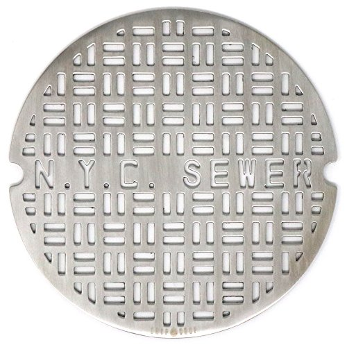 DRIP DROP Custom Shower Drain Cover (4in Round - NY Sewer, Brushed Stainless Steel)