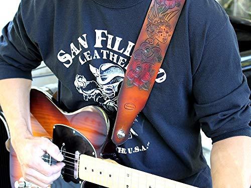 Usa Sunburst Guitar - Custom Leather Guitar Strap Brown Sunburst