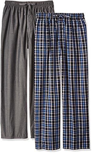 (Fruit of the Loom Men's 2-Pack Woven Pajama Pant Set, Black, Large)