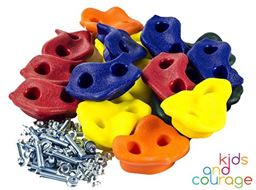 25 Textured Rock Climbing Holds for Kids with Installation Hardware - Assorted Sizes and - Kids Rock Holds Climbing