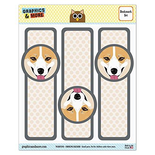 Set of 3 Glossy Laminated Bookmarks - Dog Puppy - Pembroke Welsh Corgi Face