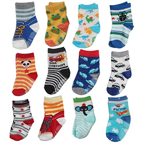 CIEHER 12 Pairs Assorted Non Skid Ankle Cotton Socks Baby Anti Slip Stretch Knit Socks Sneakers Crew Socks with Grip for 9-36 Months Baby For Sale