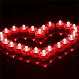 DODOLIGHTNESS 12pcs/lot Romantic Waterproof Submersible LED Tea Light Electronic Candle Light for Wedding Party Christmas Valentine Decoration (Red)