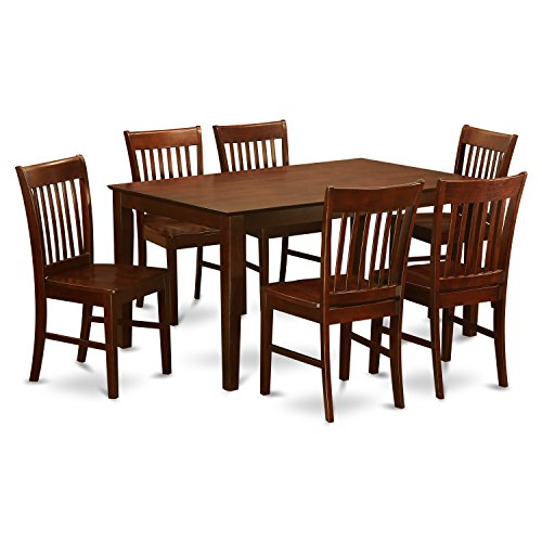 Dining Room Mahogany Bench - East West Furniture CANO7-MAH-W and 6 Chairs Dining Table, Wood Seat, Mahogany Finish