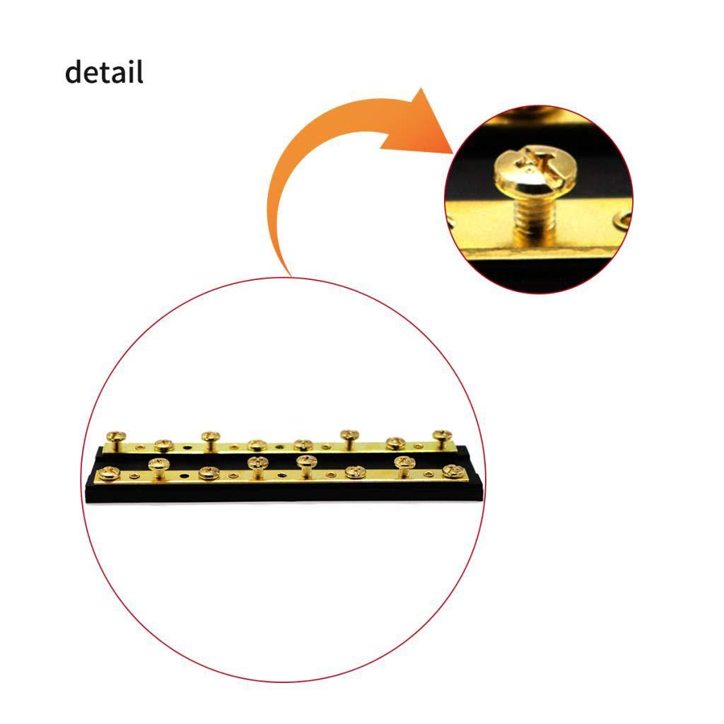 Baosity 8 Circuit Junction Block,32V DC 60A Dual Brass Bus Bar with Sixteen 8-32 Screw Terminals