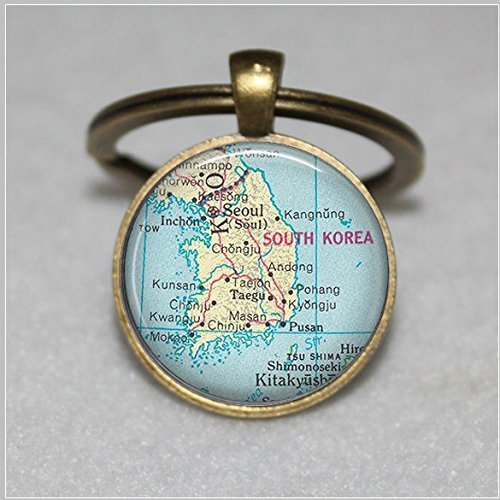 South Korea map pendant, South Korea map Keychain, South Korea pendant, South Korea necklace map jewelry keychain key chain