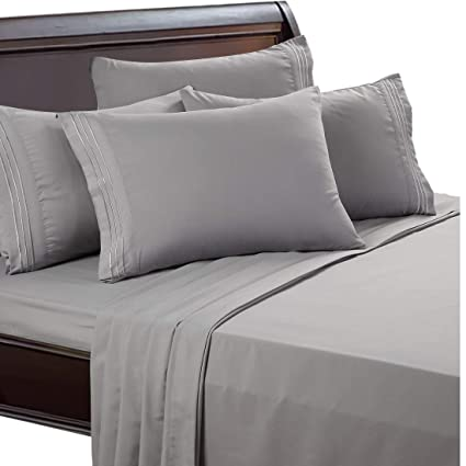 EASELAND 6 Pieces 1800 Thread Count Microfiber Bed Sheet Set Wrinkle U0026 Fade  Resistant
