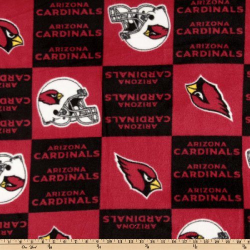 - Fabric Traditions NFL Fleece Arizona Cardinals Squares Black/Red Fabric By The Yard