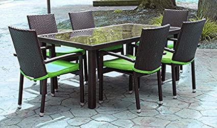 Fine Amazon Com 7 Piece Black And Lime Green Resin Wicker Lamtechconsult Wood Chair Design Ideas Lamtechconsultcom