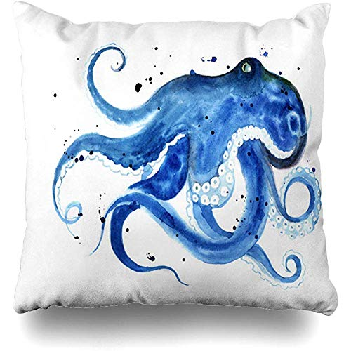 (Throw Pillow Cover Tee Ink Blue Octopus Watercolor Sketch Graphic Cyclopedia Book Life Ocean Water Design Home Decor Cushion Case Square Size 18 x 18 Inches Zippered Cases)