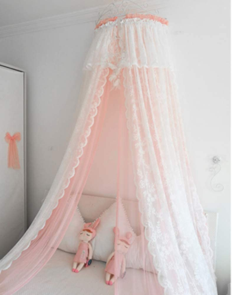 レースベッドキャノピー,寝具の装飾のための白い金属の王冠が付いている王女の二重網のベッドのカーテン-a