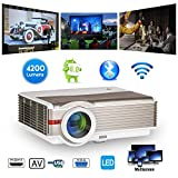 HD Bluetooth Projector with Built-in WiFi, 4200 Lumen Wireless HDMI 1080P LCD Android