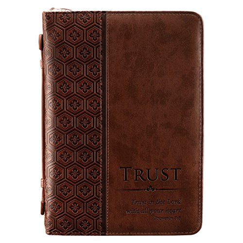 - Trust Brown Tile Design Bible / Book Cover - Proverbs 3:5 (Large)