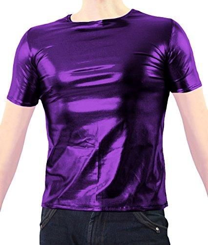 VSVO Adult Purple Metallic Wet Look T-Shirts (Small, Purple) ()