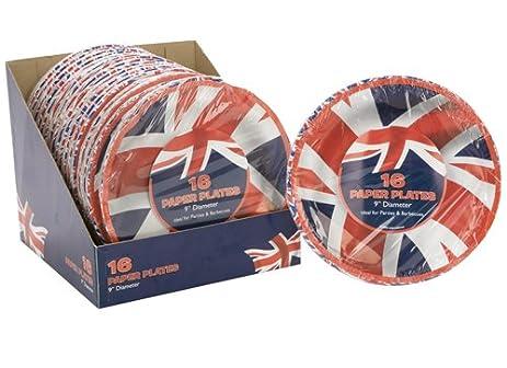 9\u0026quot; Pack Of 16 Union Jack Paper Plates  sc 1 st  Amazon.com & Amazon.com: 9\