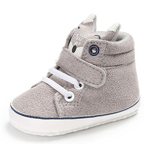 Tenworld Baby Booties, Cute Fox Newborn Infant Girls Boys High Top Sneaker (0-6 months, Gray)