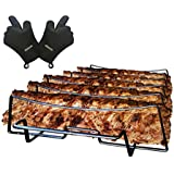 SparkIt Rib Rack for Smoking and Grilling - Free BBQ Gloves - Non Stick 5 Slot Capacity - No Trimming Necessary