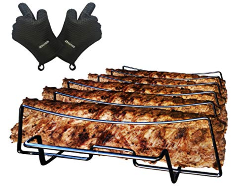 (SparkIt Rib Rack for Smoking and Grilling - Free BBQ Gloves - Non Stick 5 Slot Capacity - No Trimming Necessary)
